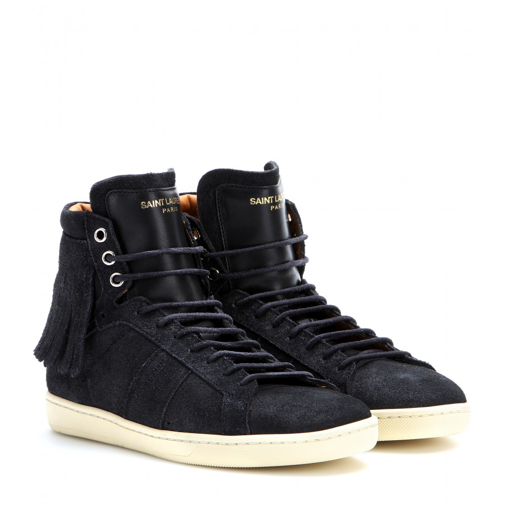 laurent suede and leather high top sneakers in black