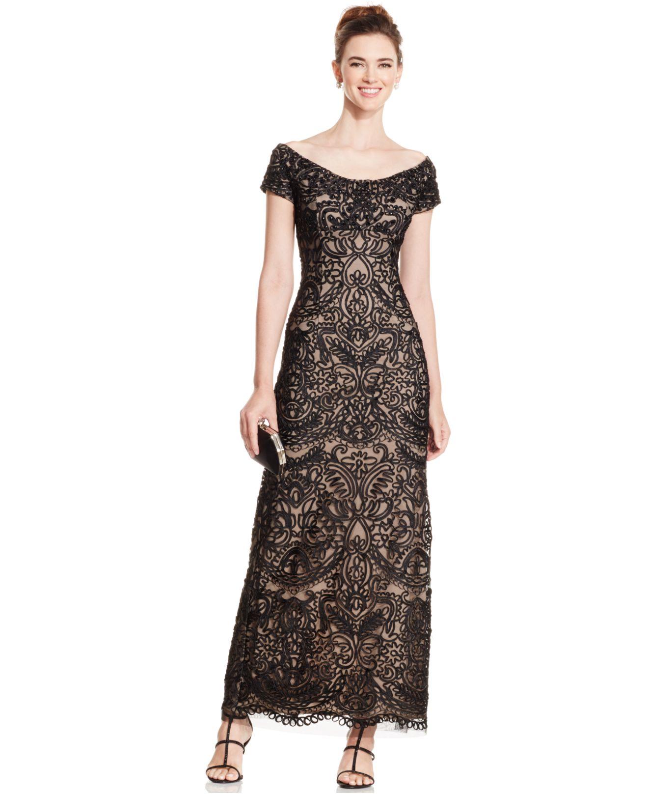 b3c5ef21add6 Alex Evenings Off-shoulder Embellished Soutache Dress in Black - Lyst