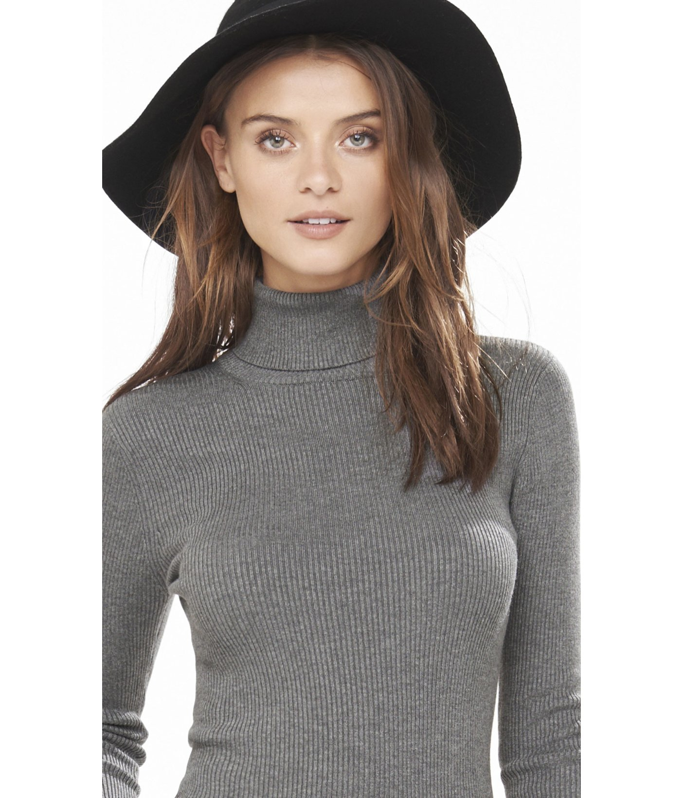 Express Ribbed Turtleneck Sweater in Gray | Lyst
