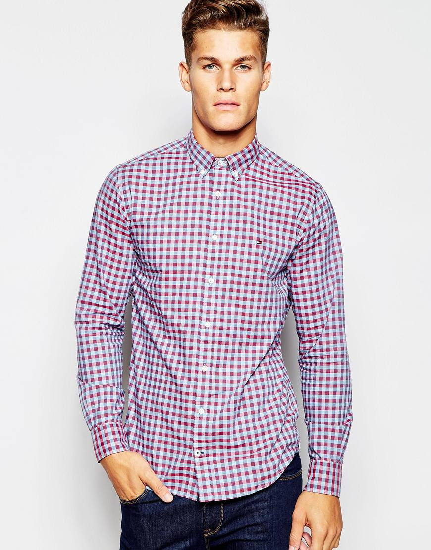 Lyst tommy hilfiger gingham shirt in blue for men for Tommy hilfiger gingham dress shirt