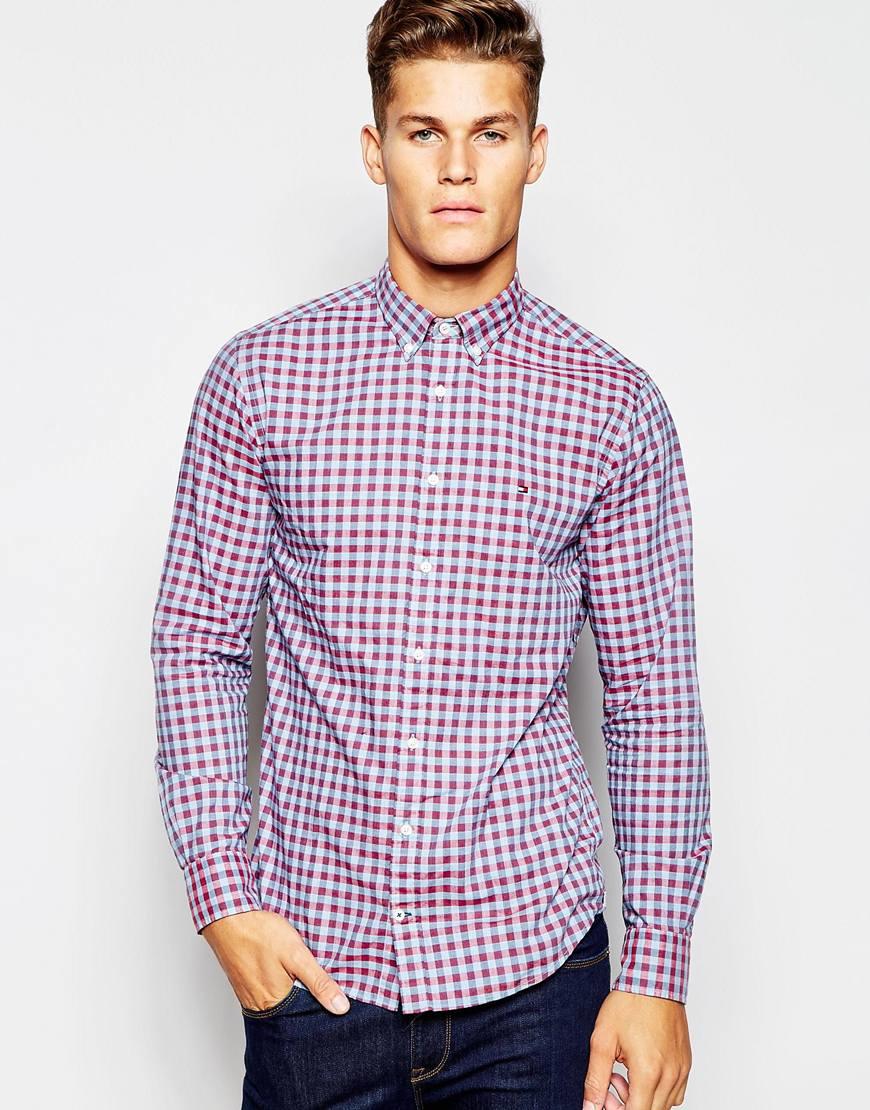Lyst Tommy Hilfiger Gingham Shirt In Blue For Men