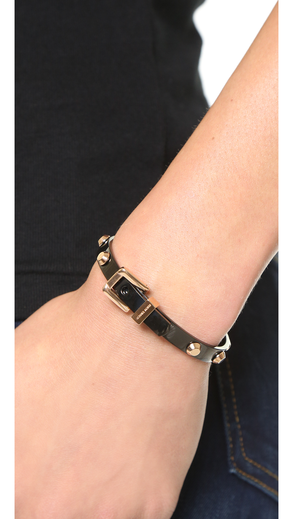 Michael Kors Two Tone Buckle Bangle Bracelet In Black Lyst