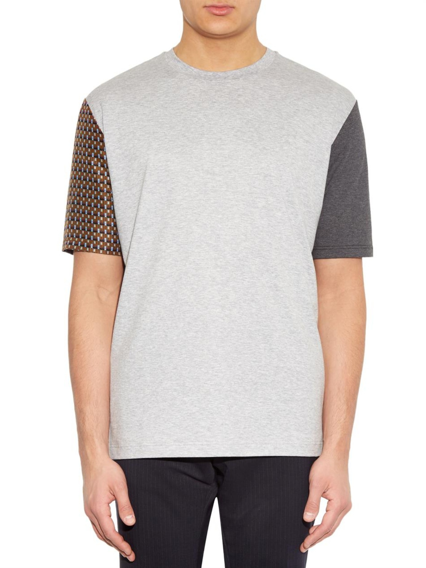 Lyst lanvin silk sleeve cotton jersey t shirt in gray for Cotton silk tee shirts
