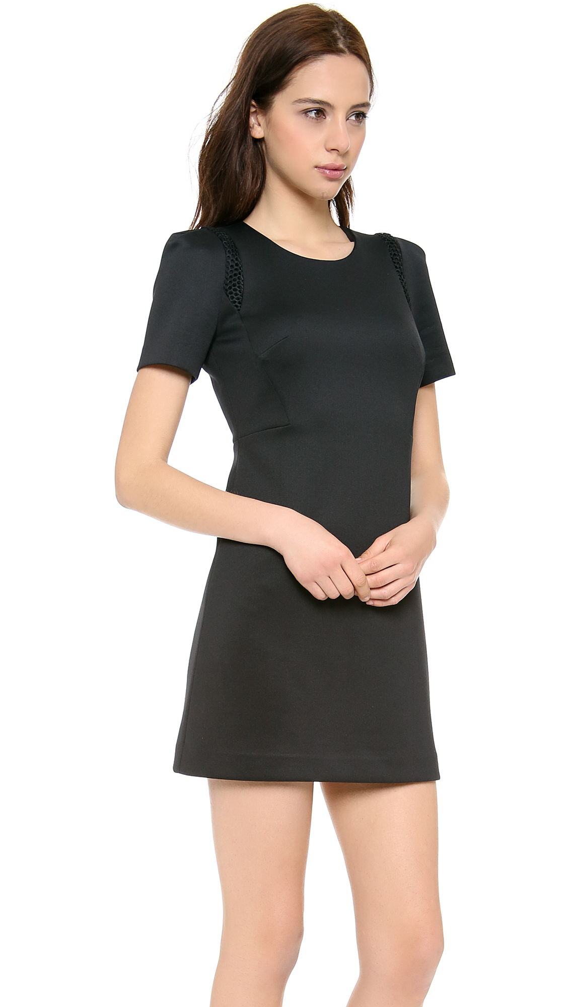 Milly Short Sleeve Shift Dress in Black | Lyst