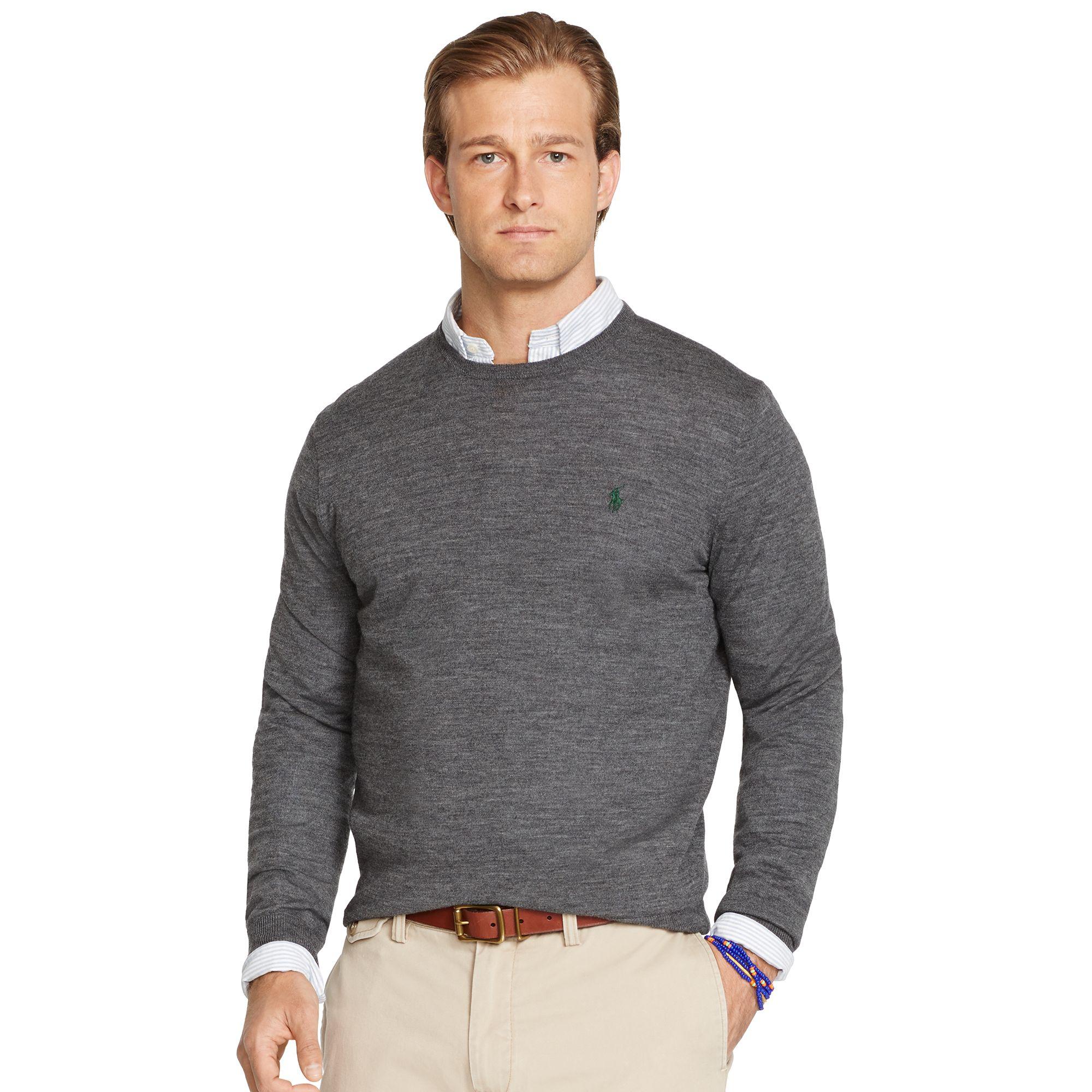 Sweater In Ralph Men Fit Lauren Lyst For Polo Slim Wool Merino Gray Ya0q0xg