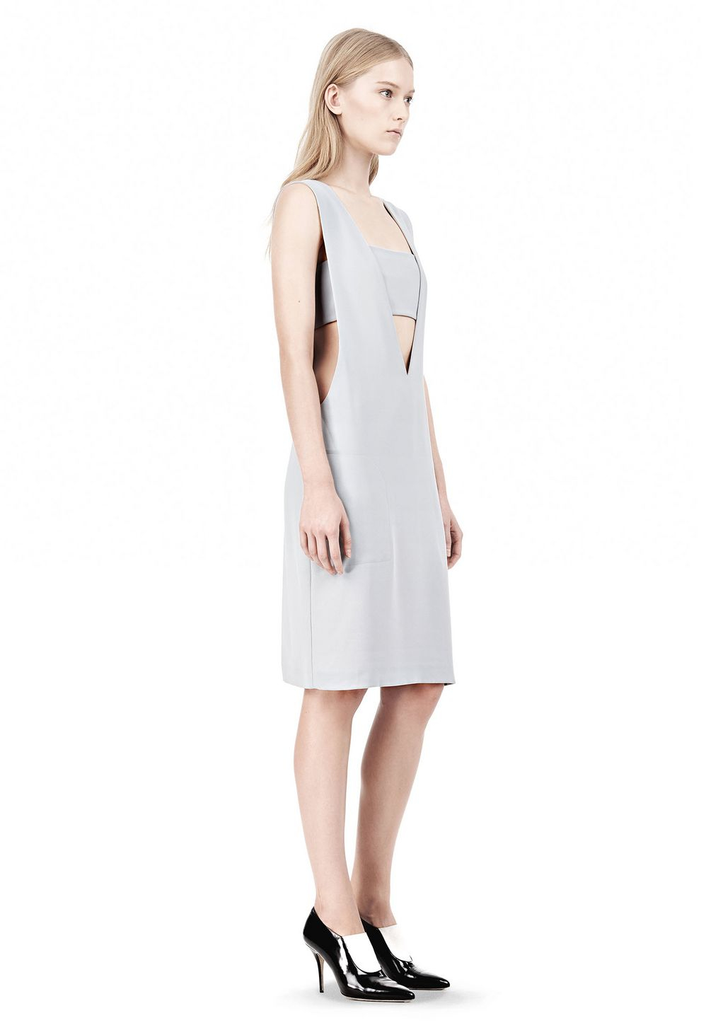 Lyst - Alexander Wang Poly Crepe Low Vneck Dress with Bandeau Insert ... 2abc77c93