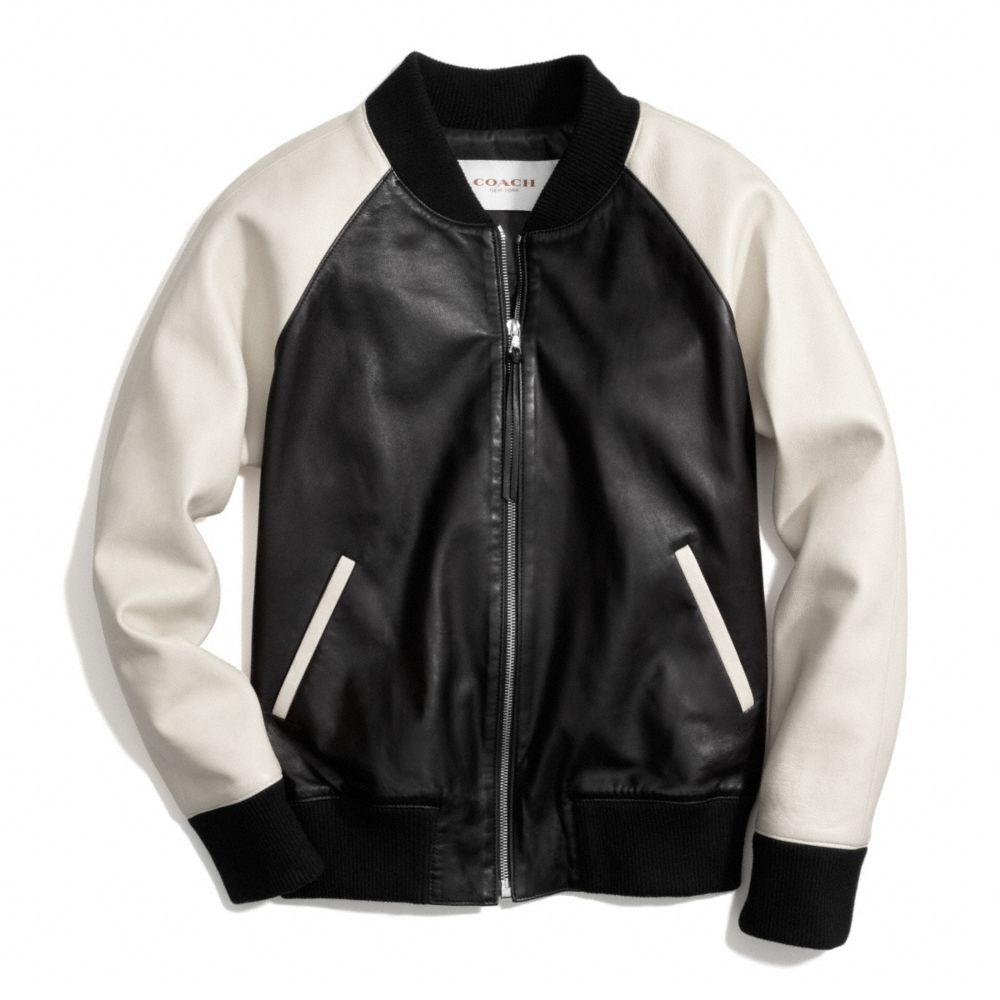 90c36aa78c Lyst - COACH Leather Varsity Jacket in Natural