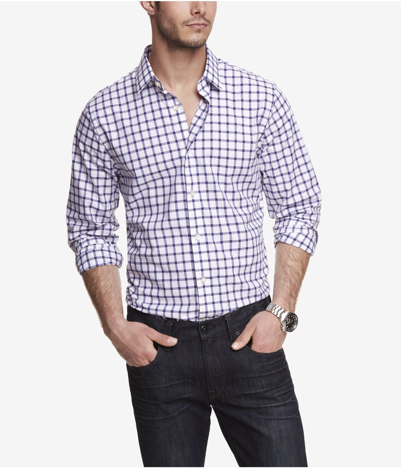 lyst express extra slim plaid dress shirt in purple for men