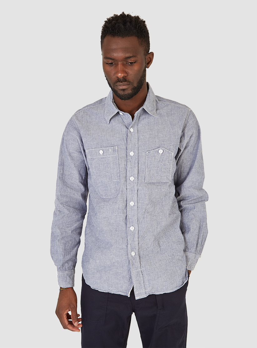 Lyst engineered garments work shirt blue cotton chambray for Blue cotton work shirts