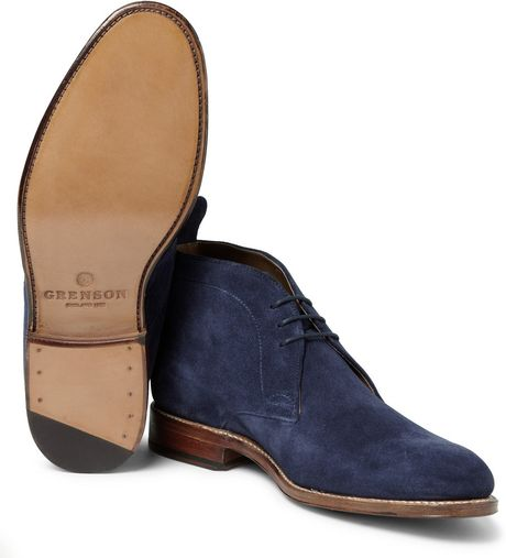 grenson suede chukka boots in blue for lyst