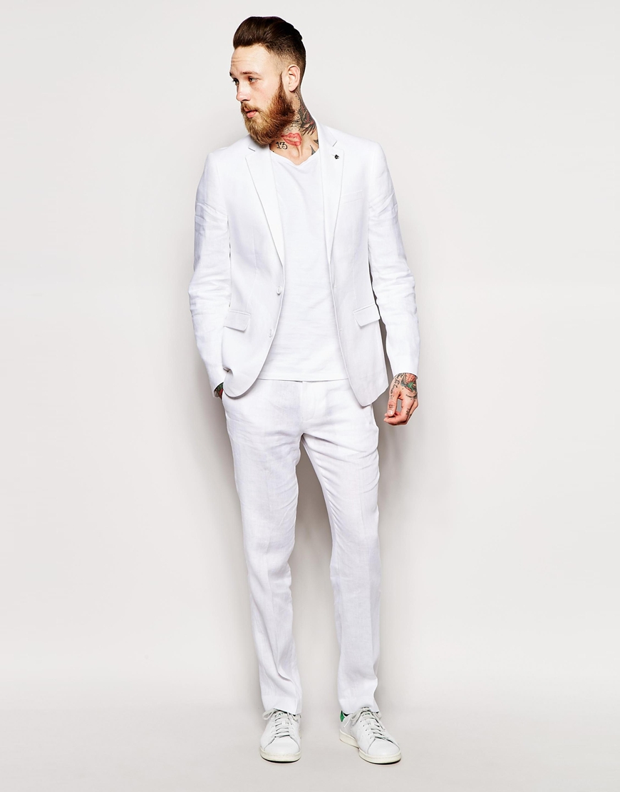 Asos Slim Fit Suit Jacket In 100% Linen in White for Men | Lyst