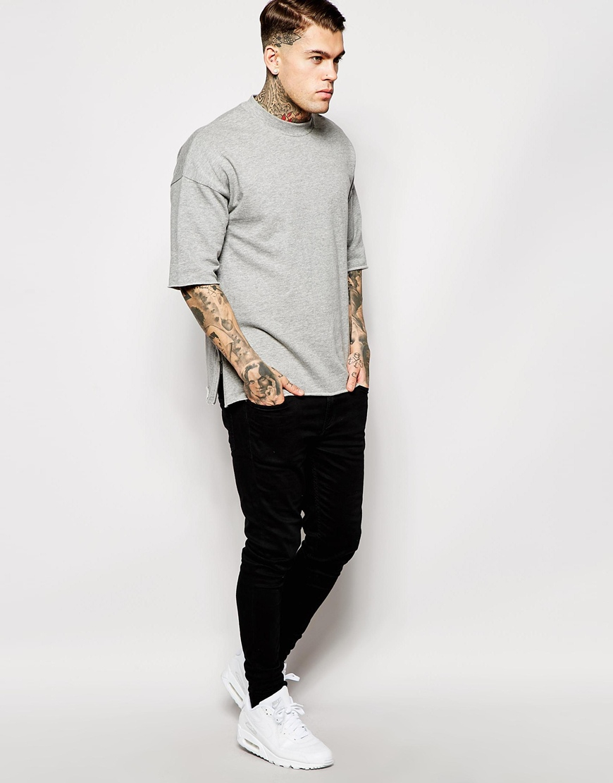 Asos Oversized Short Sleeve Sweatshirt With Side Zips in Gray for ...