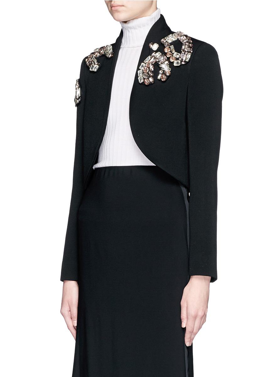 Lyst Lanvin Rhinestone Cropped Wool Bolero Jacket In Black