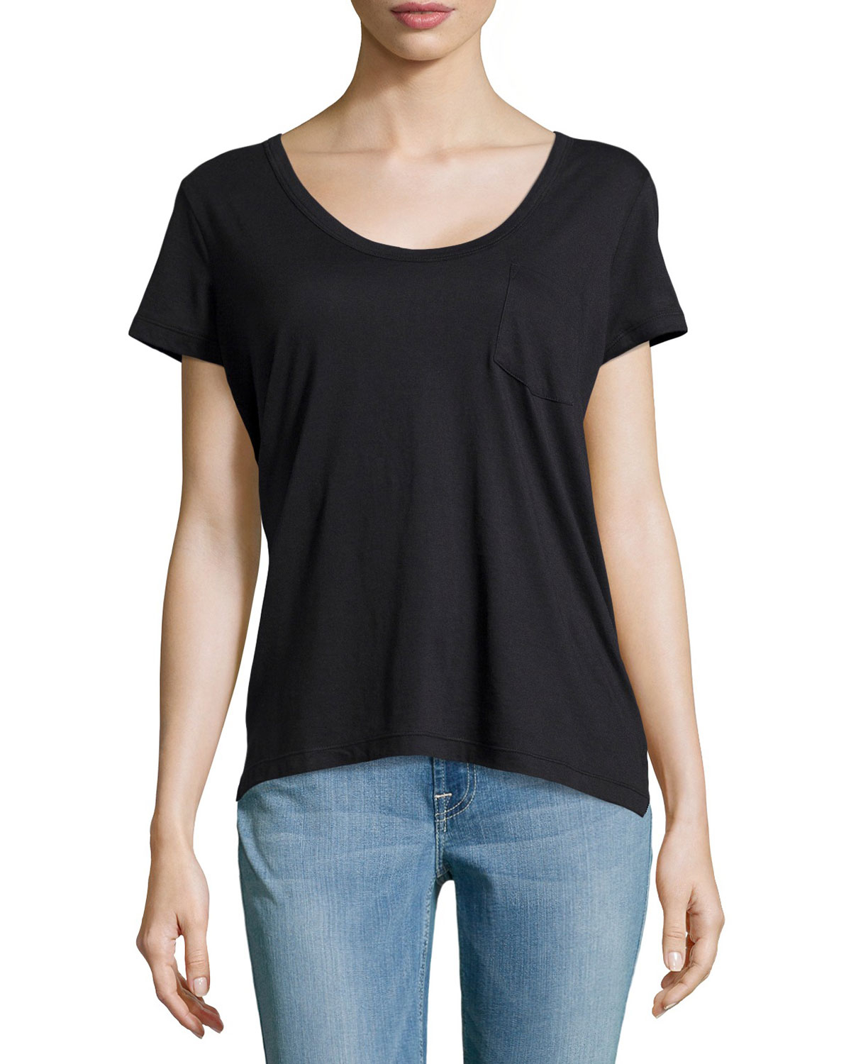 James perse short sleeve pocket tee in black lyst for James perse t shirts sale