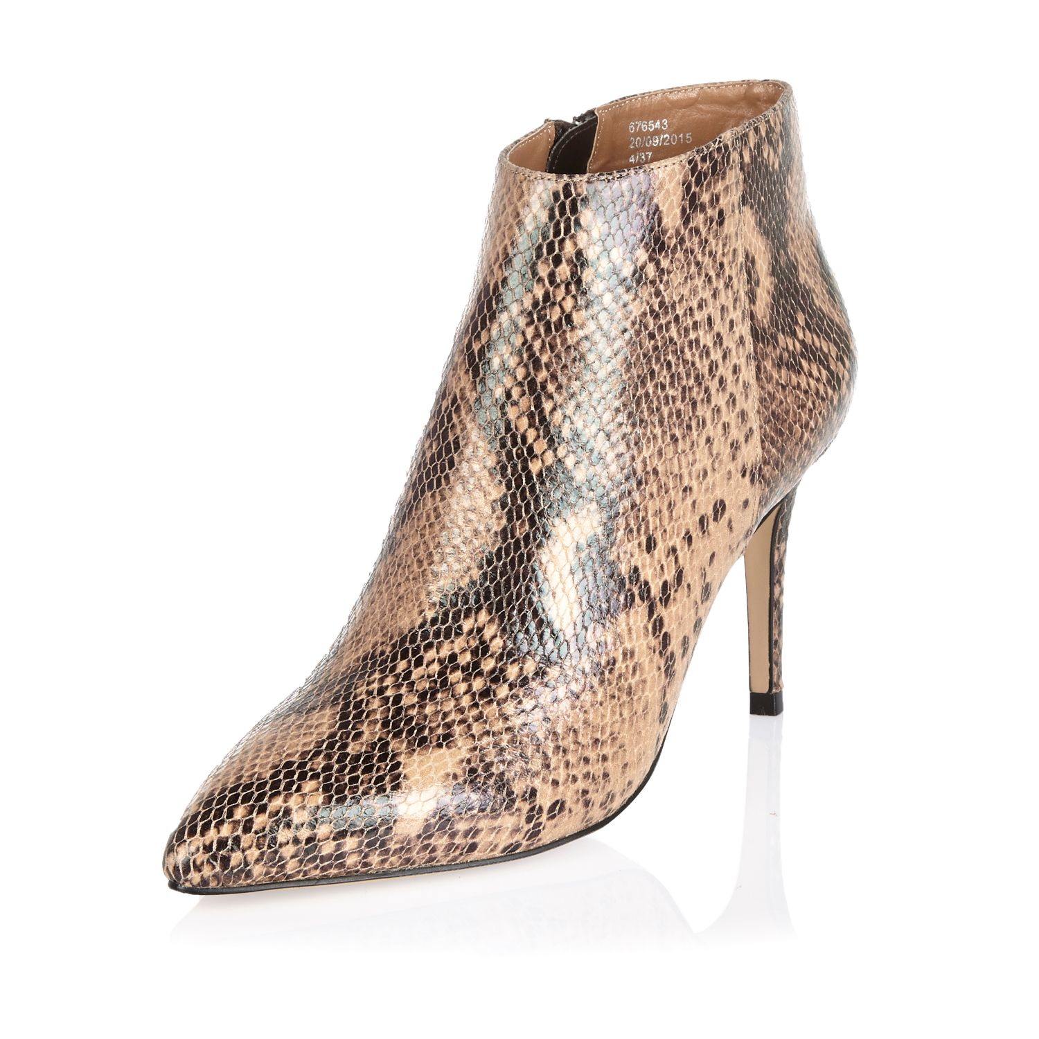 river island beige leather snake print pointed ankle boots