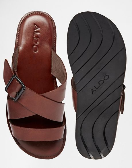 caac353b37e Aldo Sangha Leather Buckle Sandals in Brown for Men