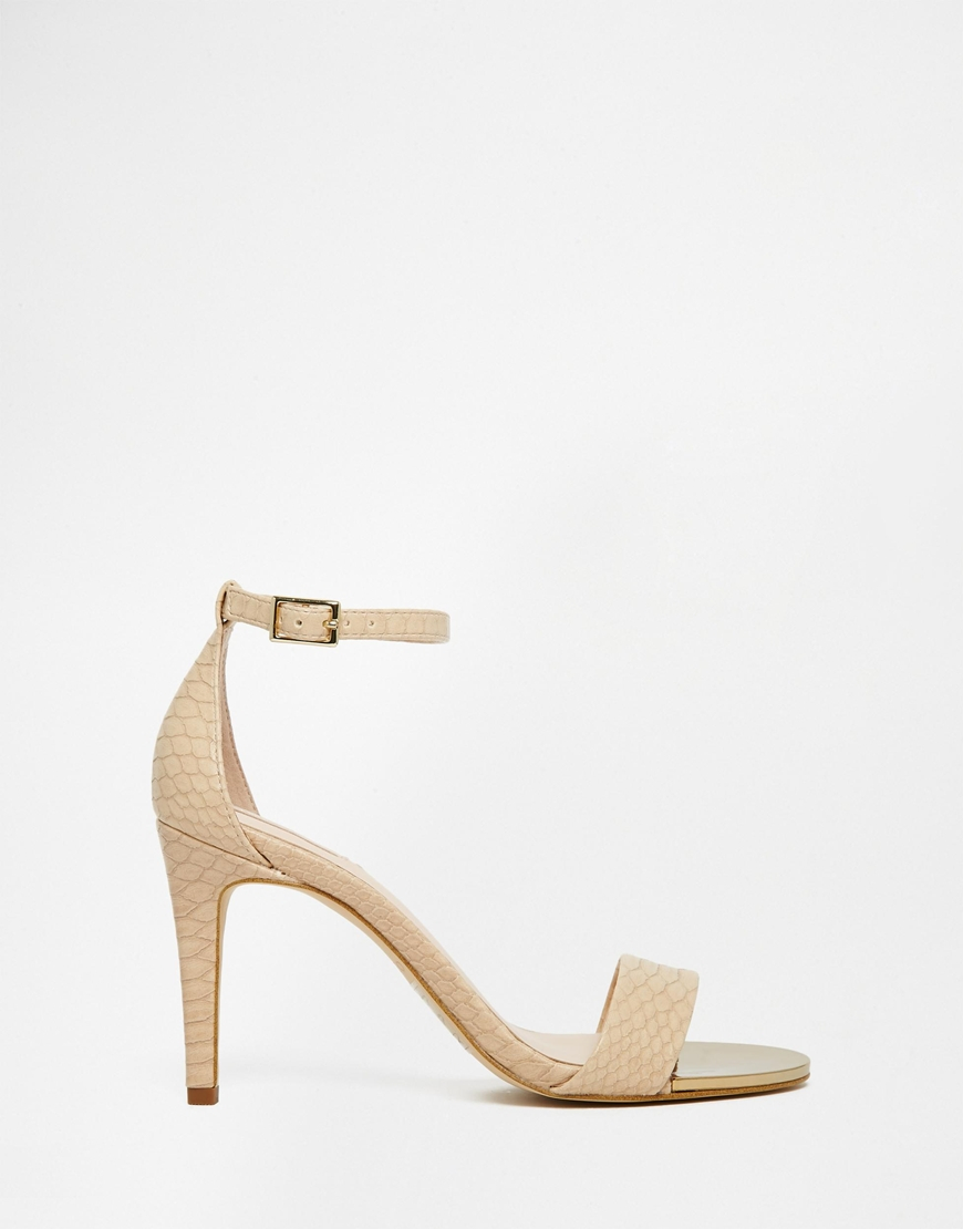Lyst - ALDO Ldo Ridia Beige Metal Barely There Heeled Sandals in Natural