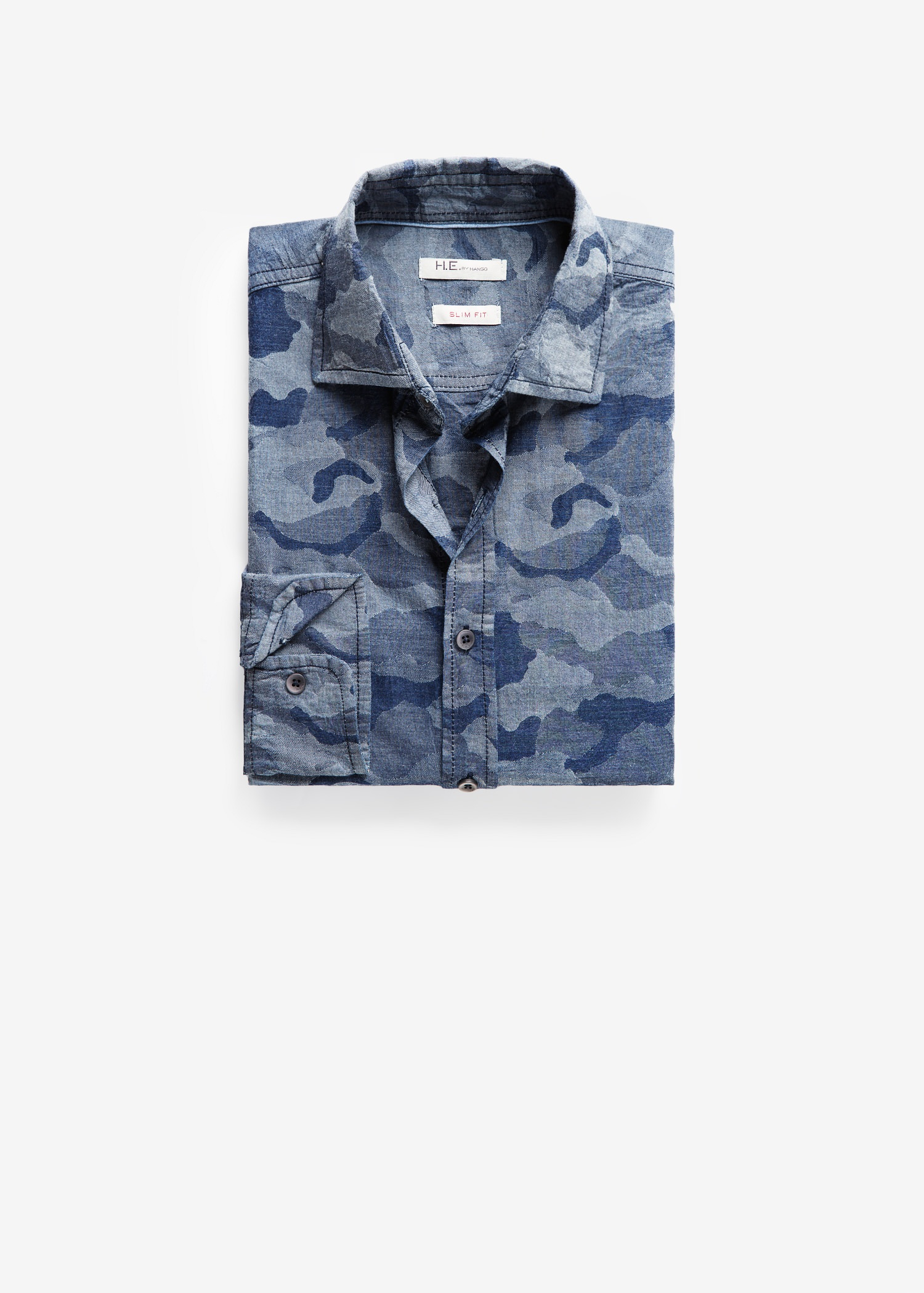 Mango Slim-Fit Camo-Print Chambray Shirt in Blue for Men ...