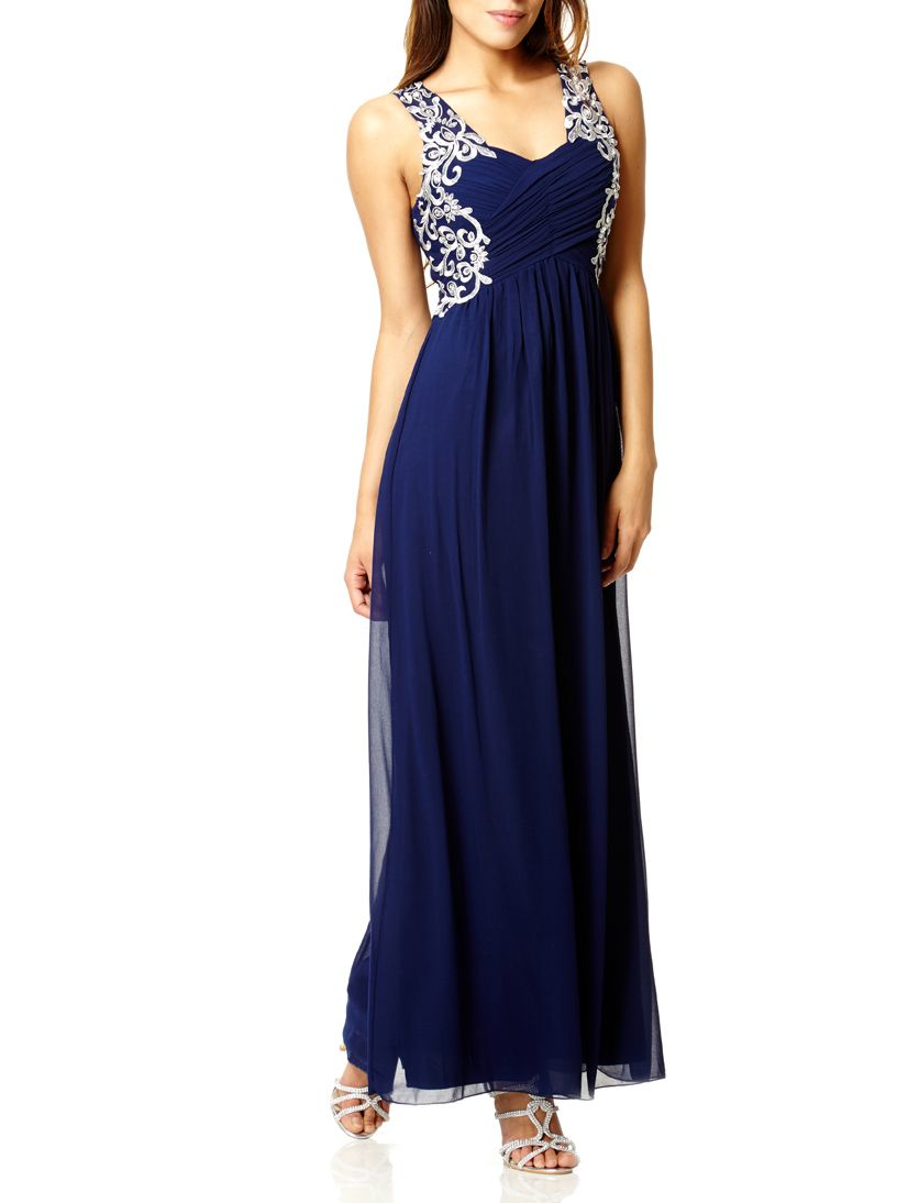 Quiz Navy Embroidered Maxi Dress In Blue Lyst
