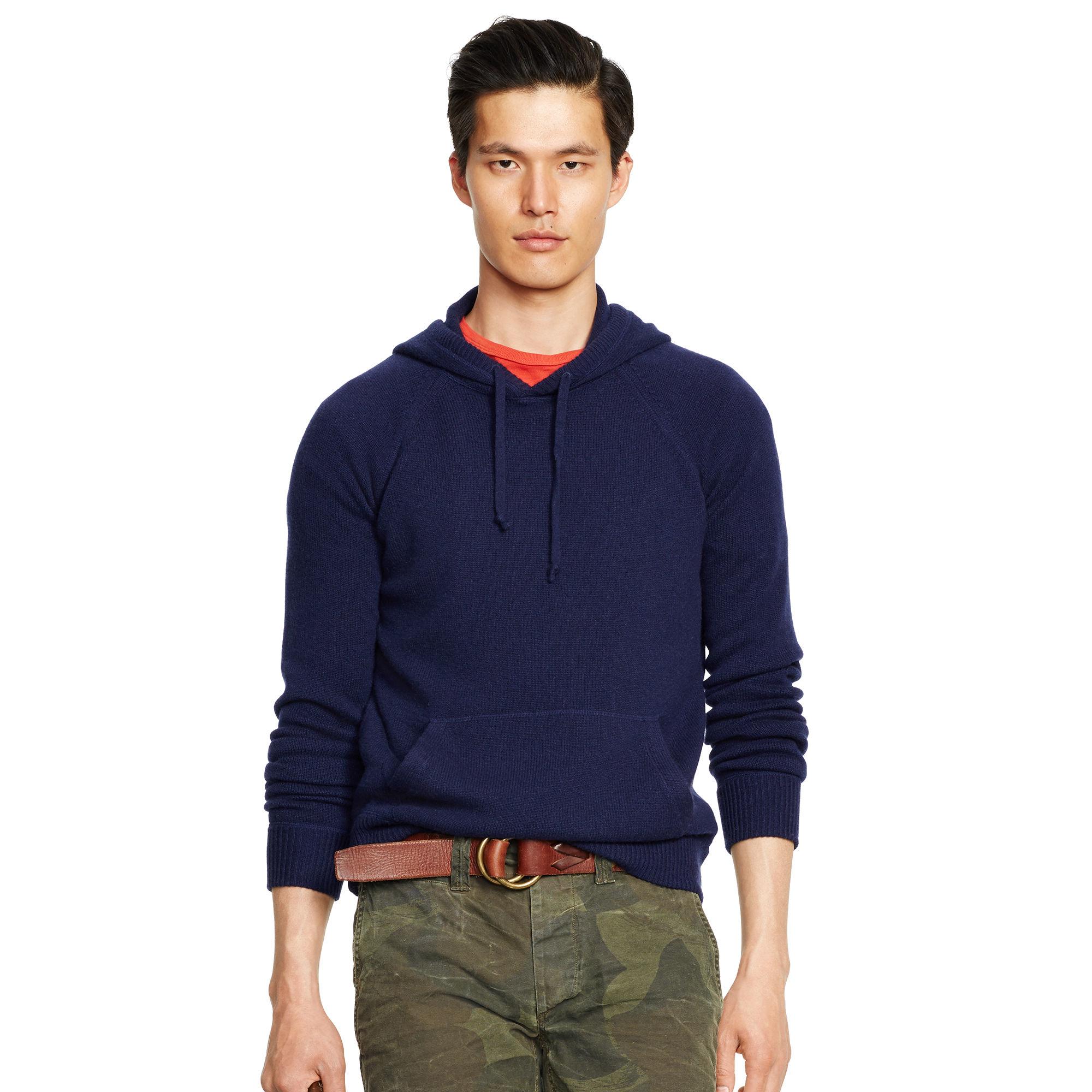 polo ralph lauren cashmere hoodie in blue for men lyst. Black Bedroom Furniture Sets. Home Design Ideas