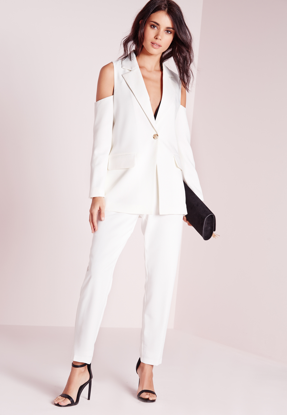 ac7ad41febb84a Lyst - Missguided Cold Shoulder Tailored Blazer White in White