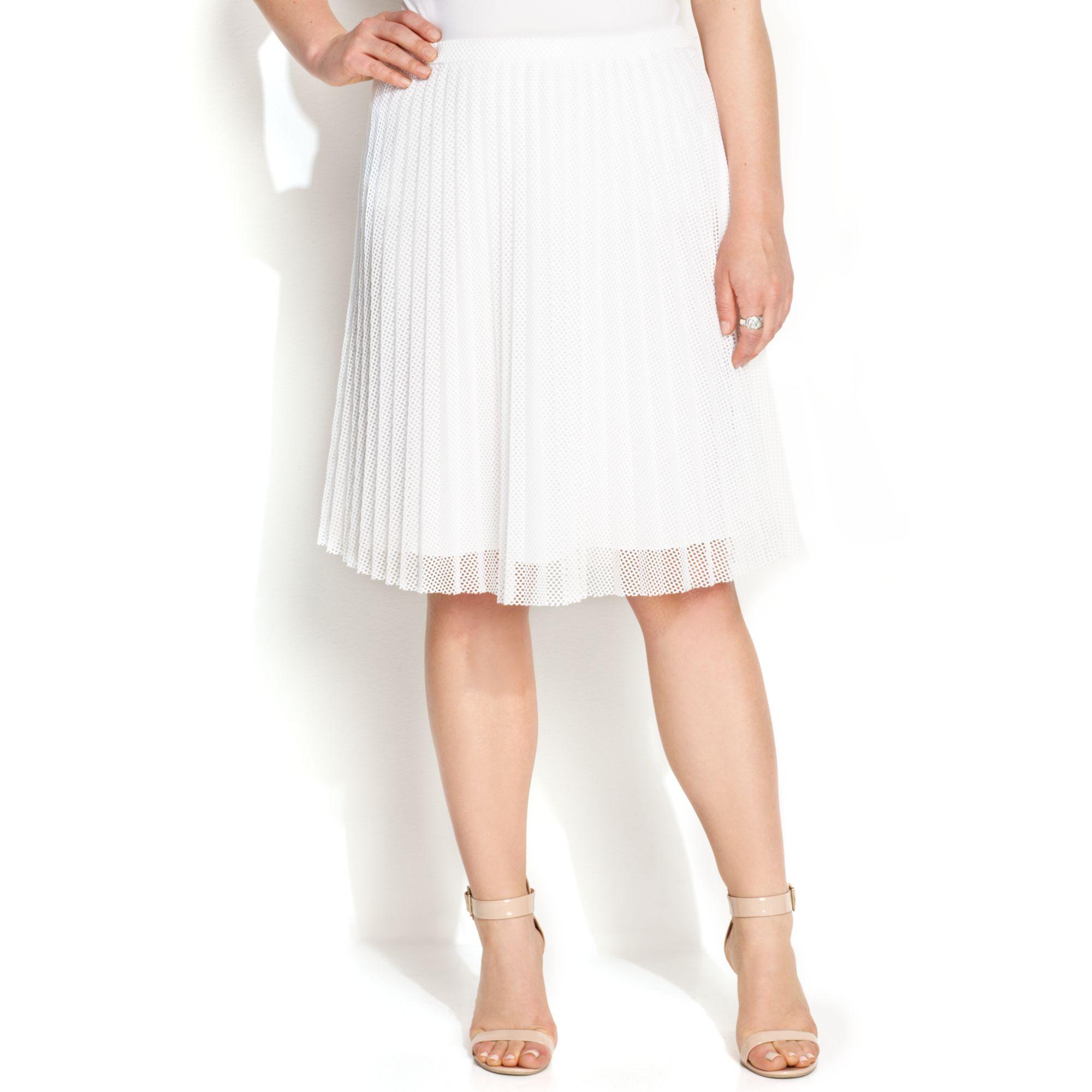 6e5729697a Calvin Klein Plus Size Pleated Mesh Aline Skirt in White - Lyst