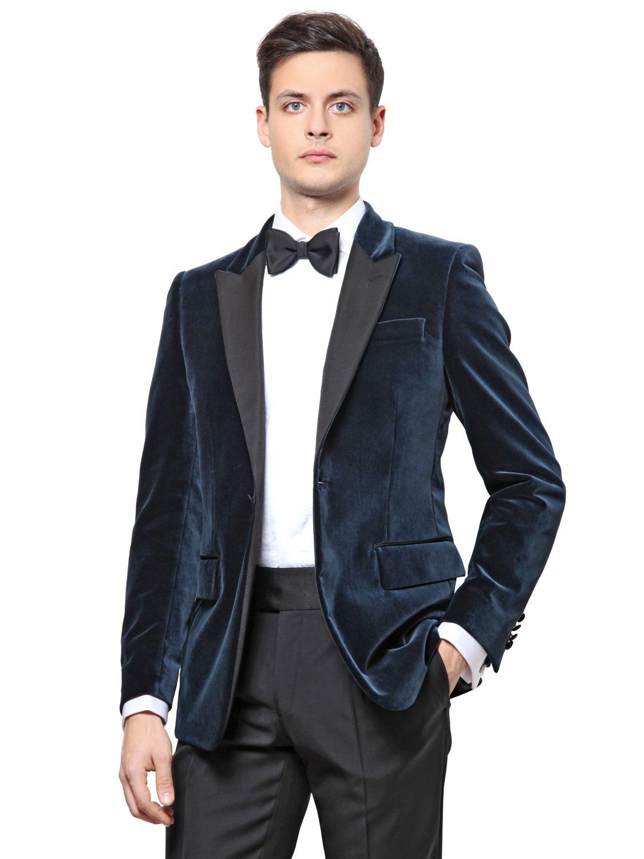 26835d73aa46 Façonnable Stretch Cotton Velvet Tuxedo Jacket in Blue for Men - Lyst