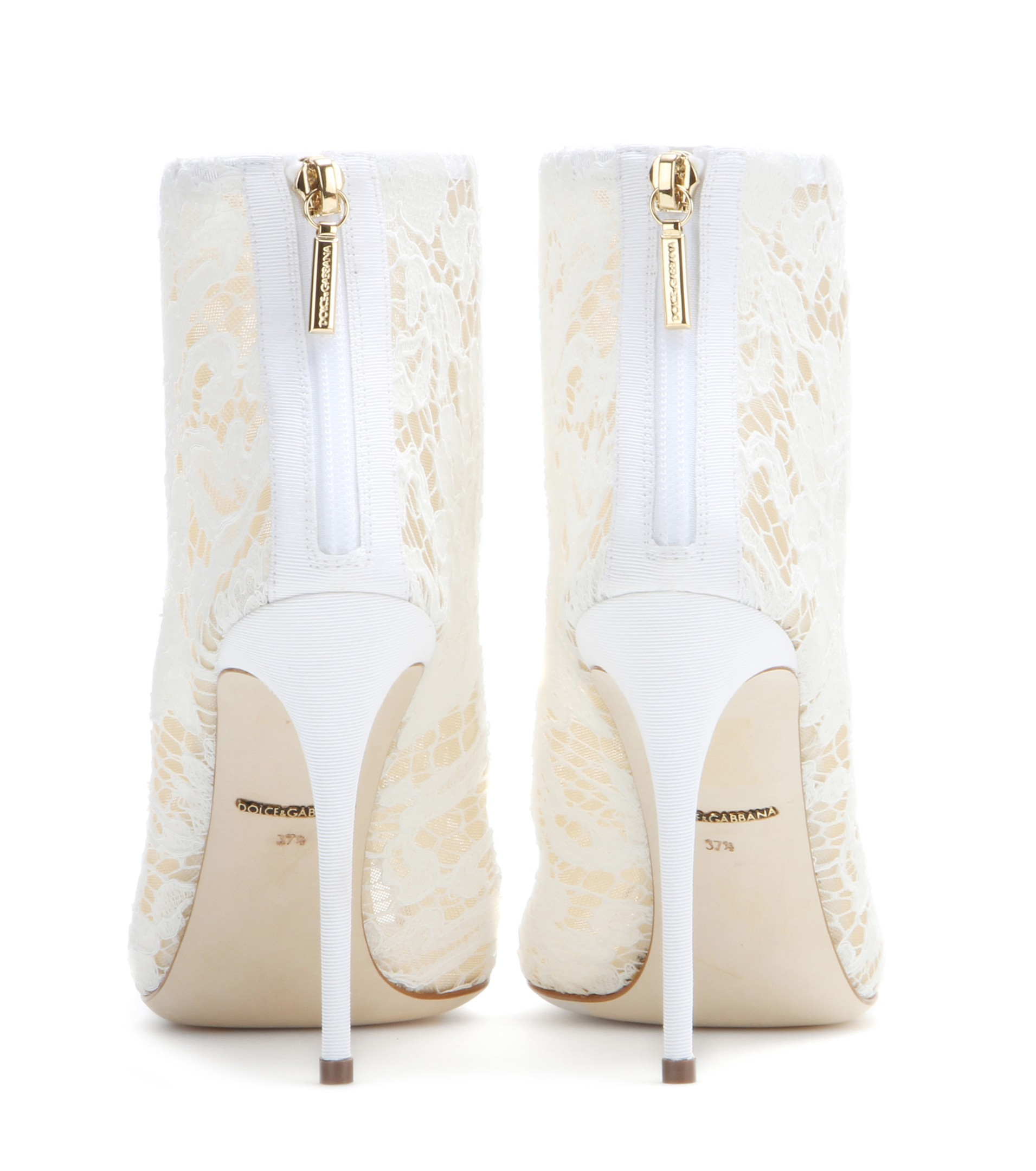 a57c639153f Lyst - Dolce   Gabbana Lace Peep-toe Ankle Boots in Natural