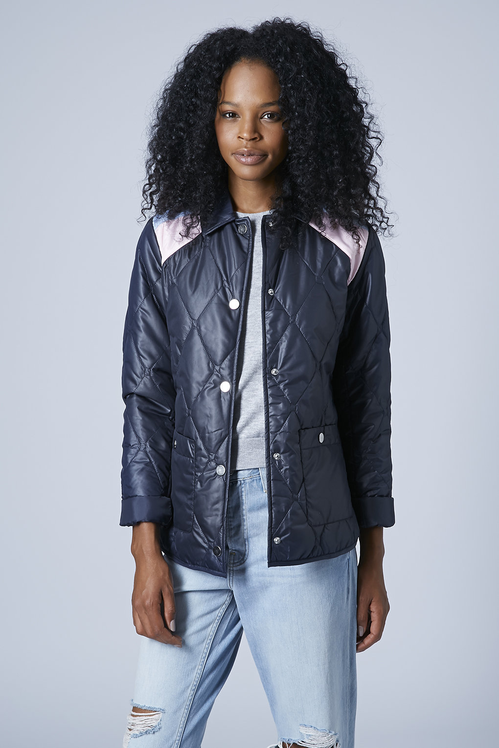 Lyst Topshop Womens Quilted Nylon Jacket Navy Blue In Blue