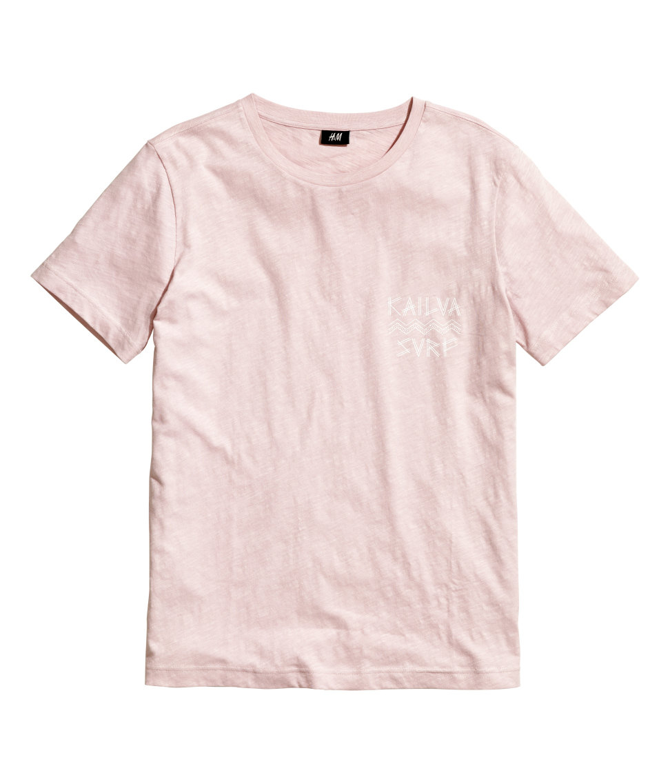 H&m T-shirt With A Print in Pink for Men | Lyst