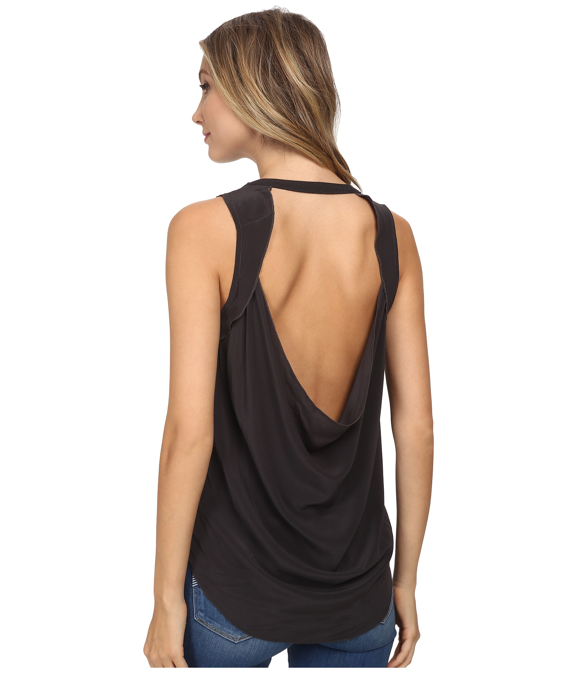 top lyst draped in chaser drape sleeveless muscle back tank normal vintage gallery black product clothing silk drapes
