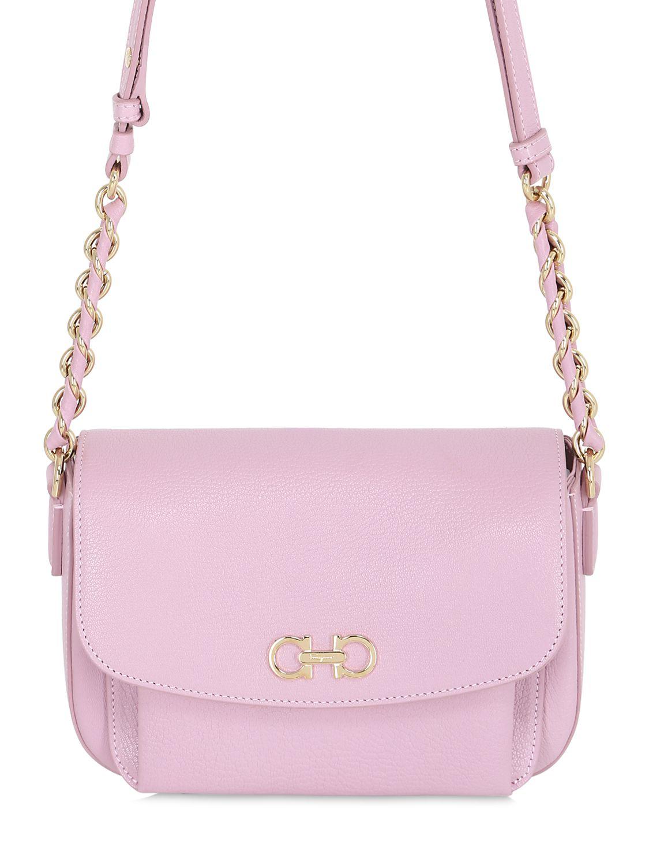 b992edb279a8 Lyst - Ferragamo Sandrine Grained Leather Shoulder Bag in Pink