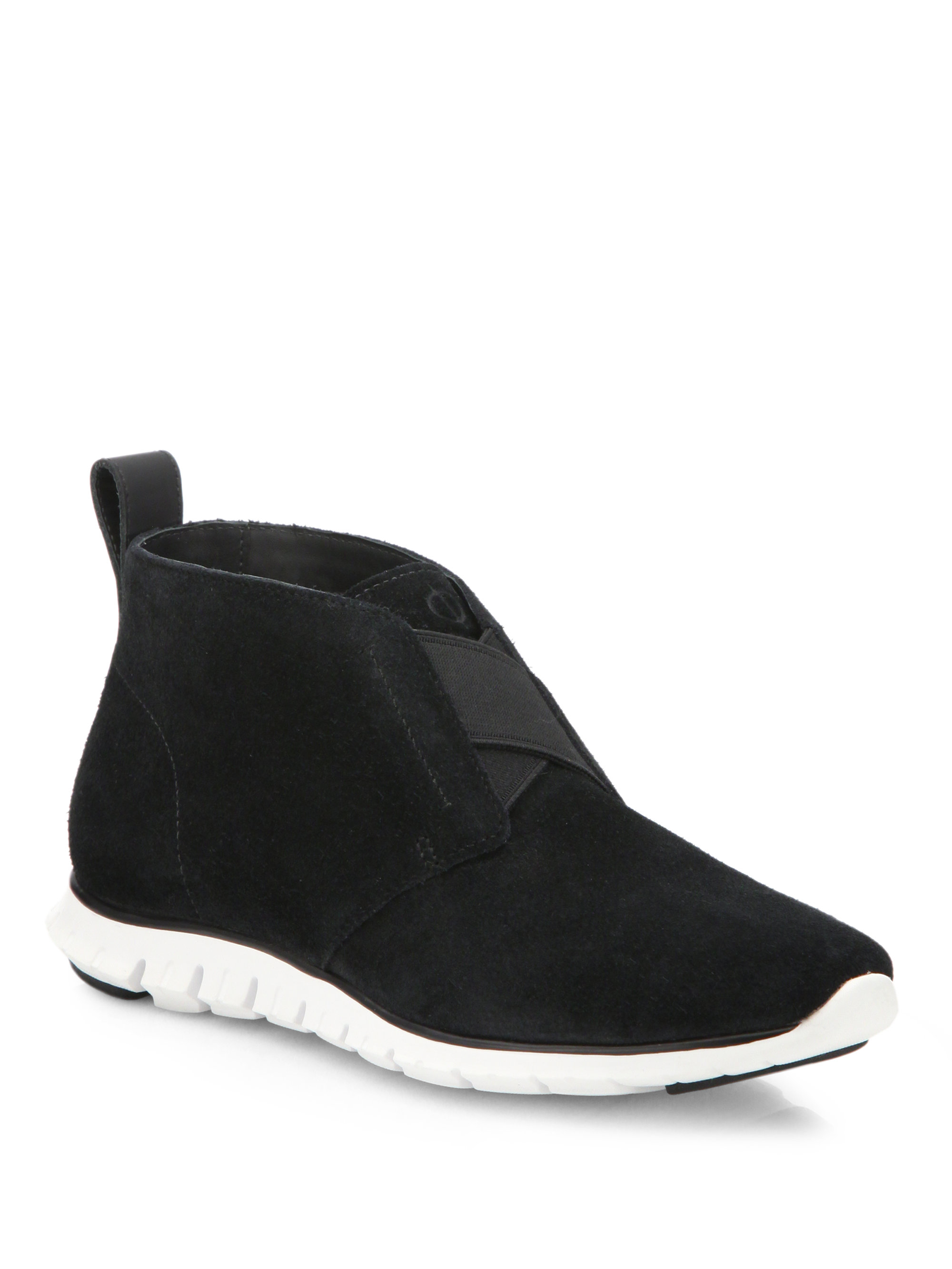 cole haan zerogrand suede chukka boots in black lyst