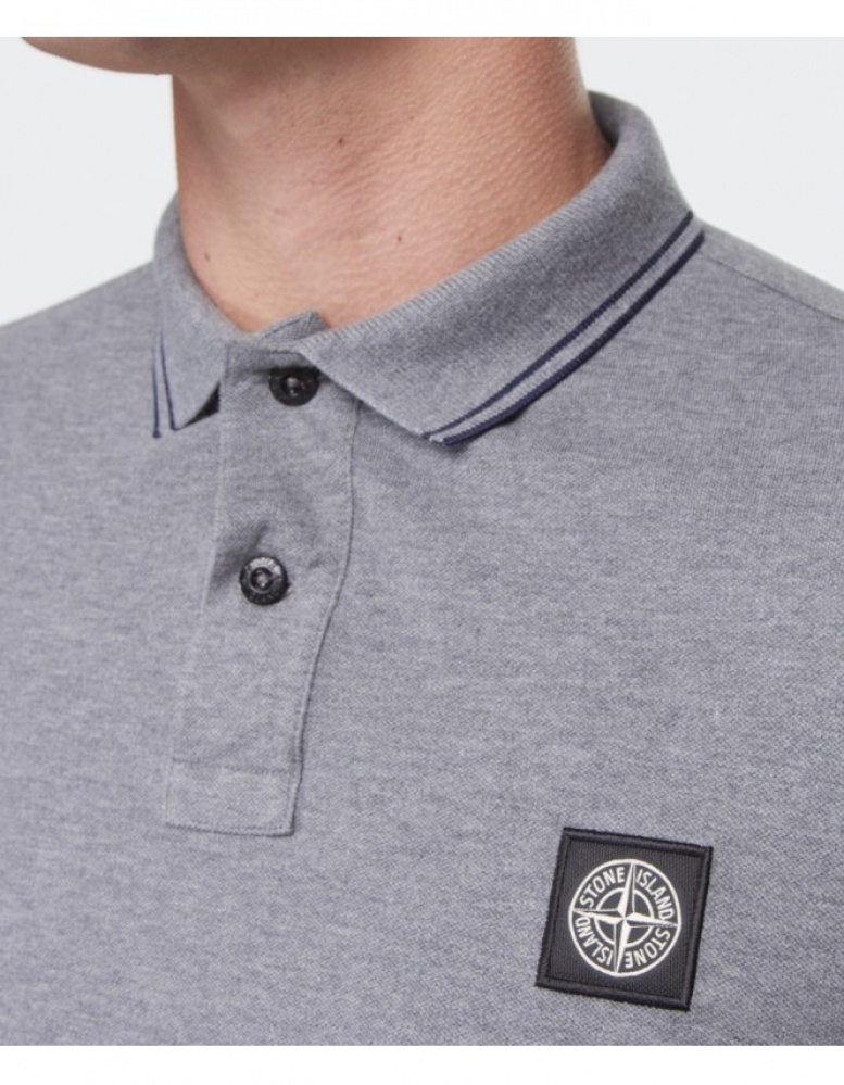 a5386ec2 Stone Island Long Sleeve Polo Shirt in Gray for Men - Lyst
