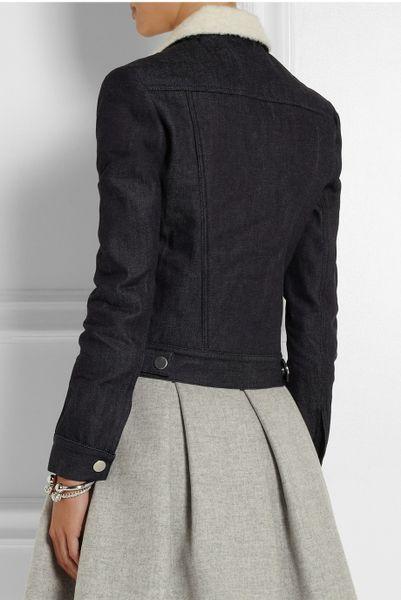 Victoria Beckham Denim And Boiled Woolblend Jacket In Blue