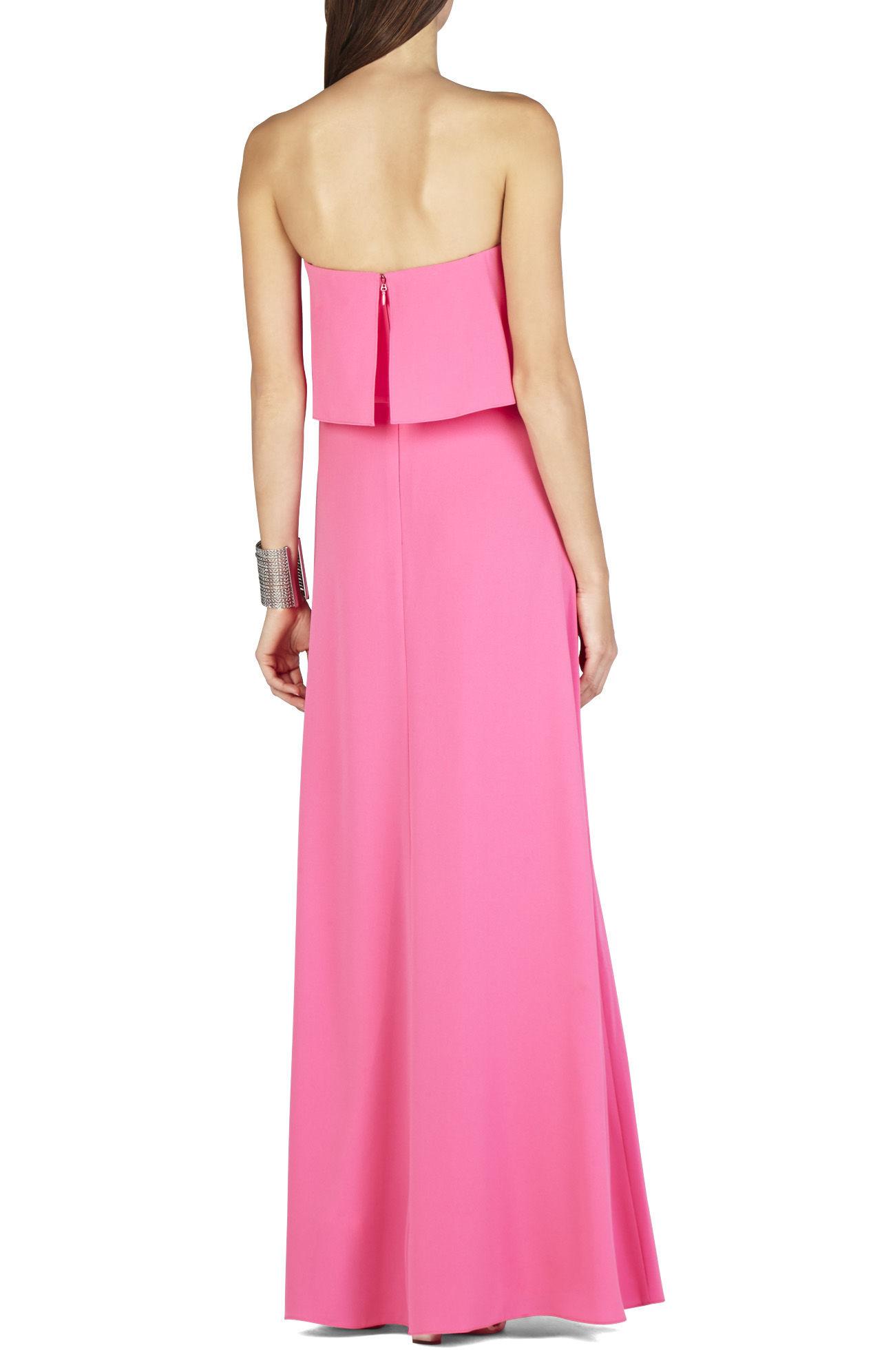 49ac29d0e64c BCBGMAXAZRIA Alyse Strapless Overlay Gown in Pink - Lyst