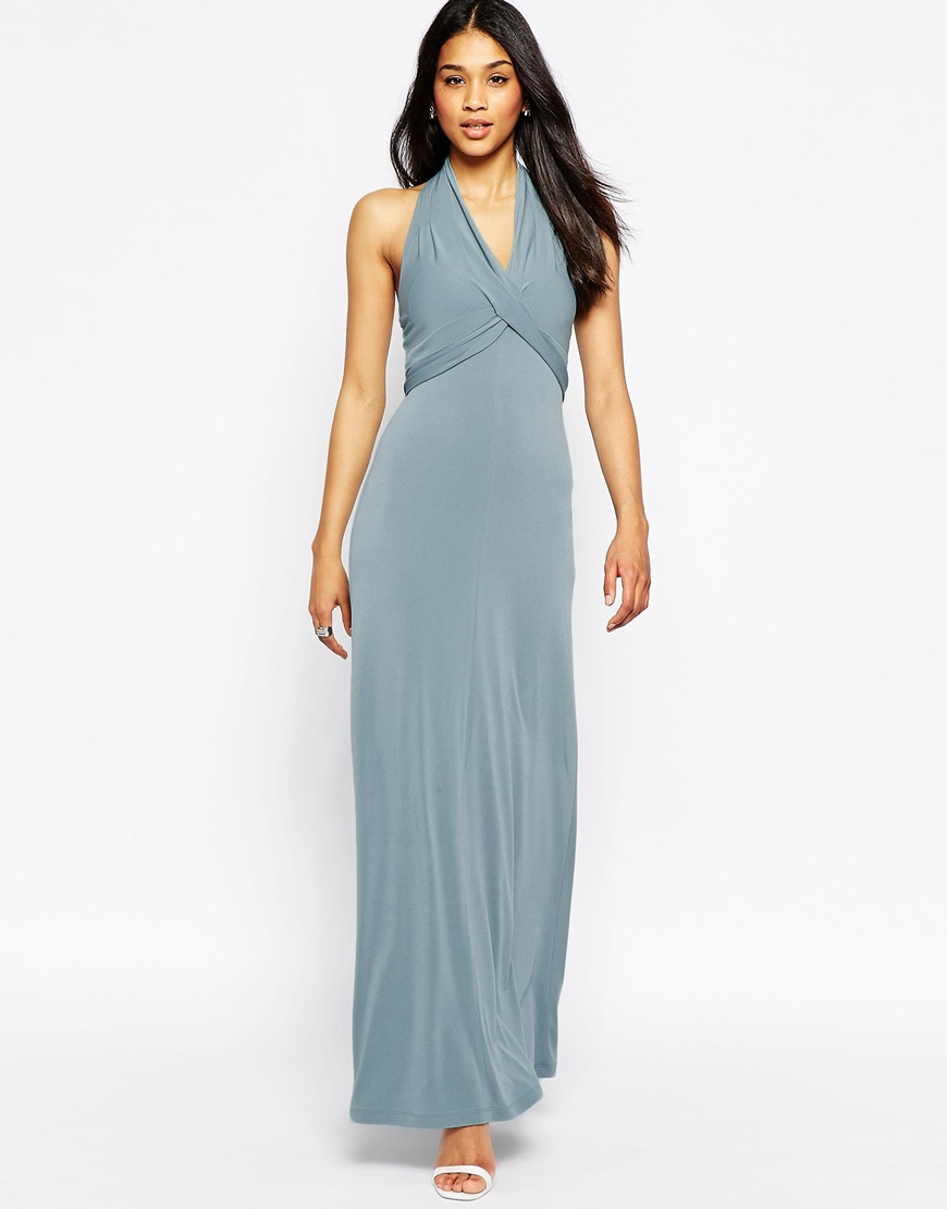 Asos Maxi Dress In Crepe With Halter Wrap Detail in Blue | Lyst