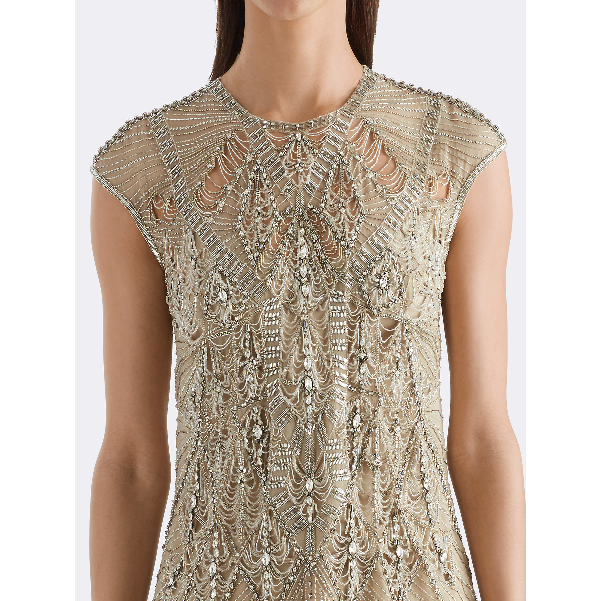 dba7fa985acf40 Lyst - Ralph Lauren Janelle Beaded Silk Top in Natural