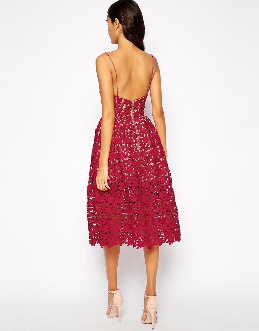 599f8aaeec2f Self-Portrait Azaelea Midi Dress In Textured Lace in Red - Lyst