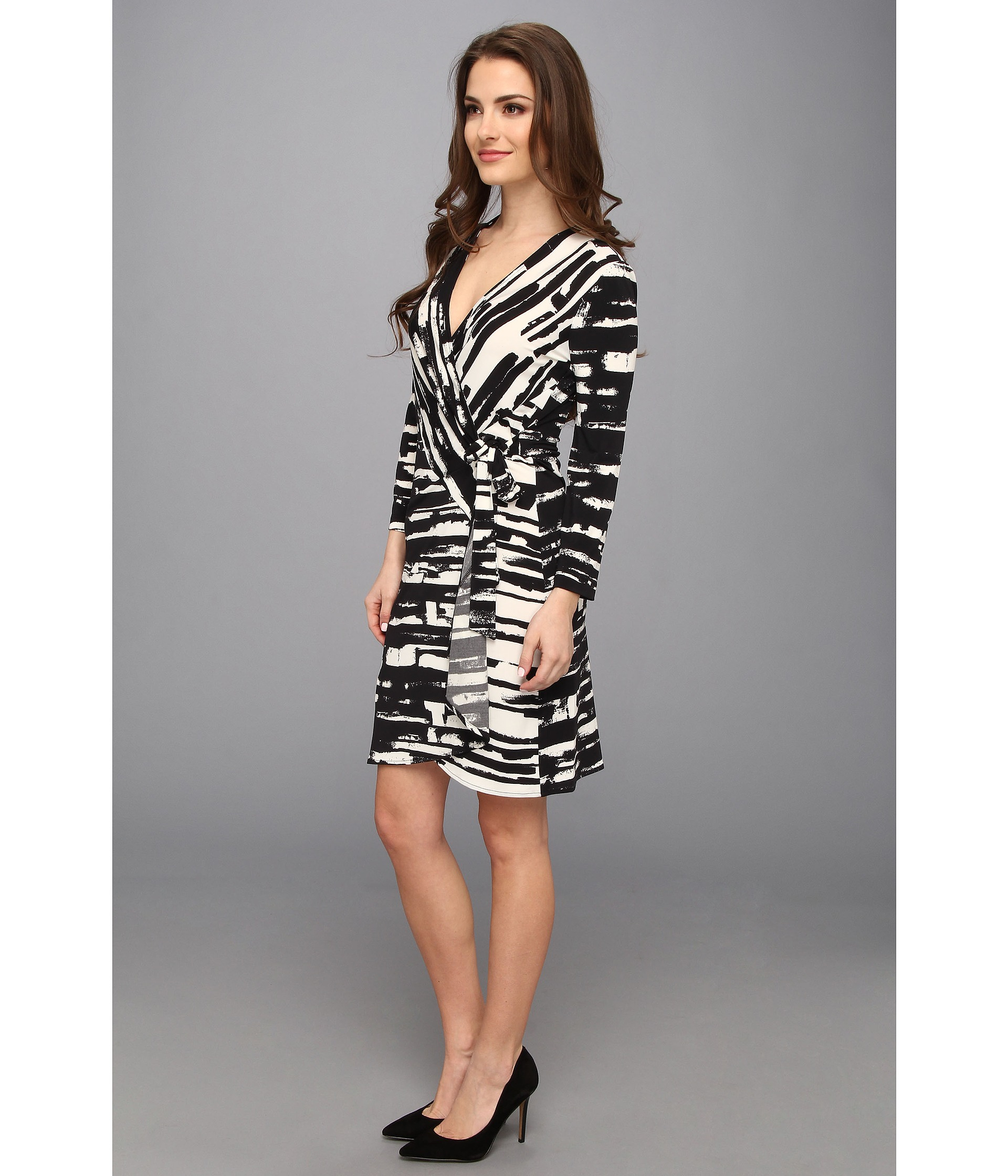 ba596b091e12 Lyst Bcbgmaxazria Pee Adele Printed Wrap Dress H69a87 In Black