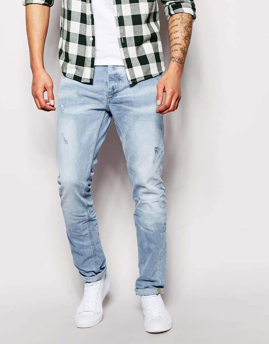 jack jones slim fit jeans with rips in blue for men lyst. Black Bedroom Furniture Sets. Home Design Ideas