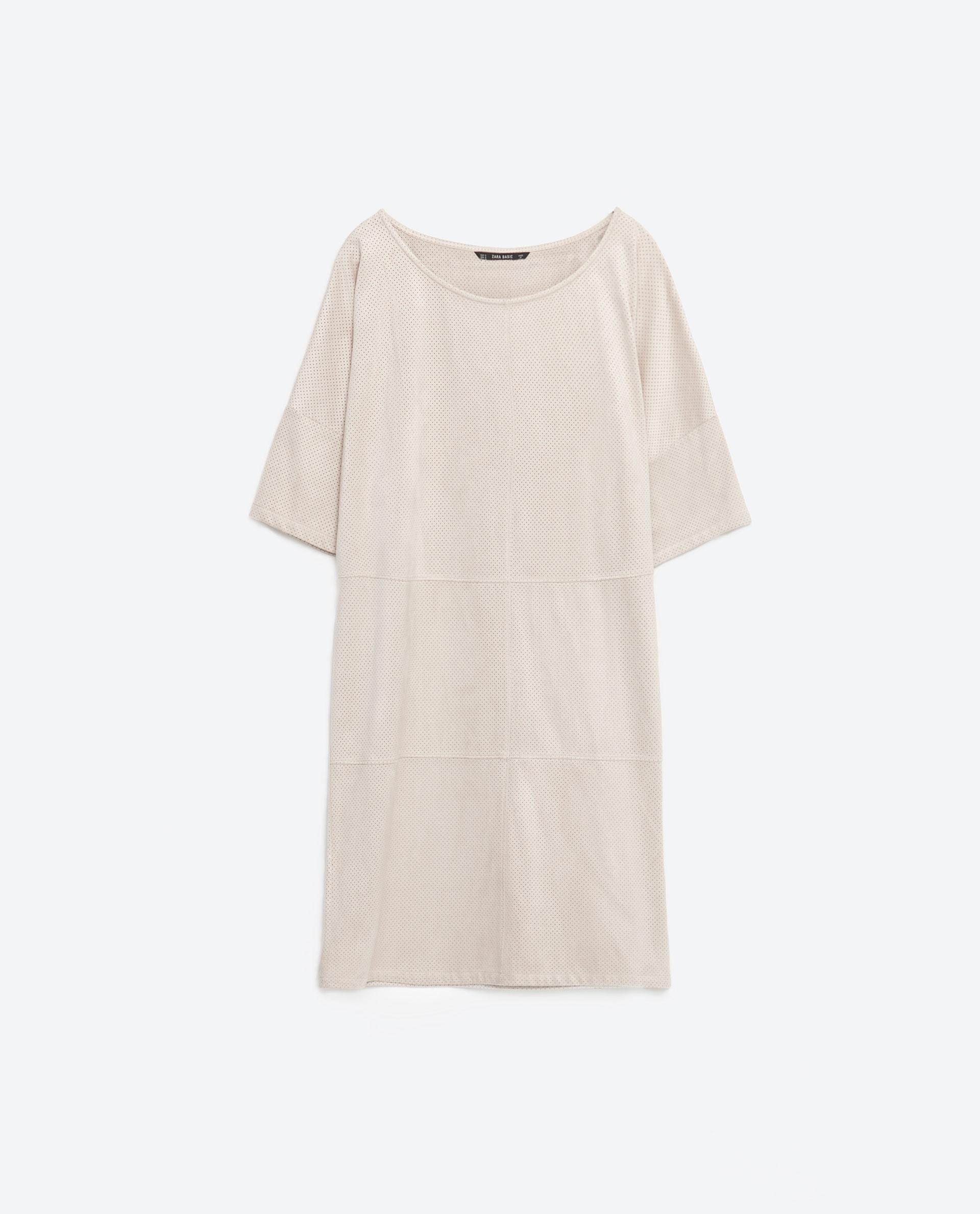 Zara suede effect dress in natural lyst for Zara mens shirts sale