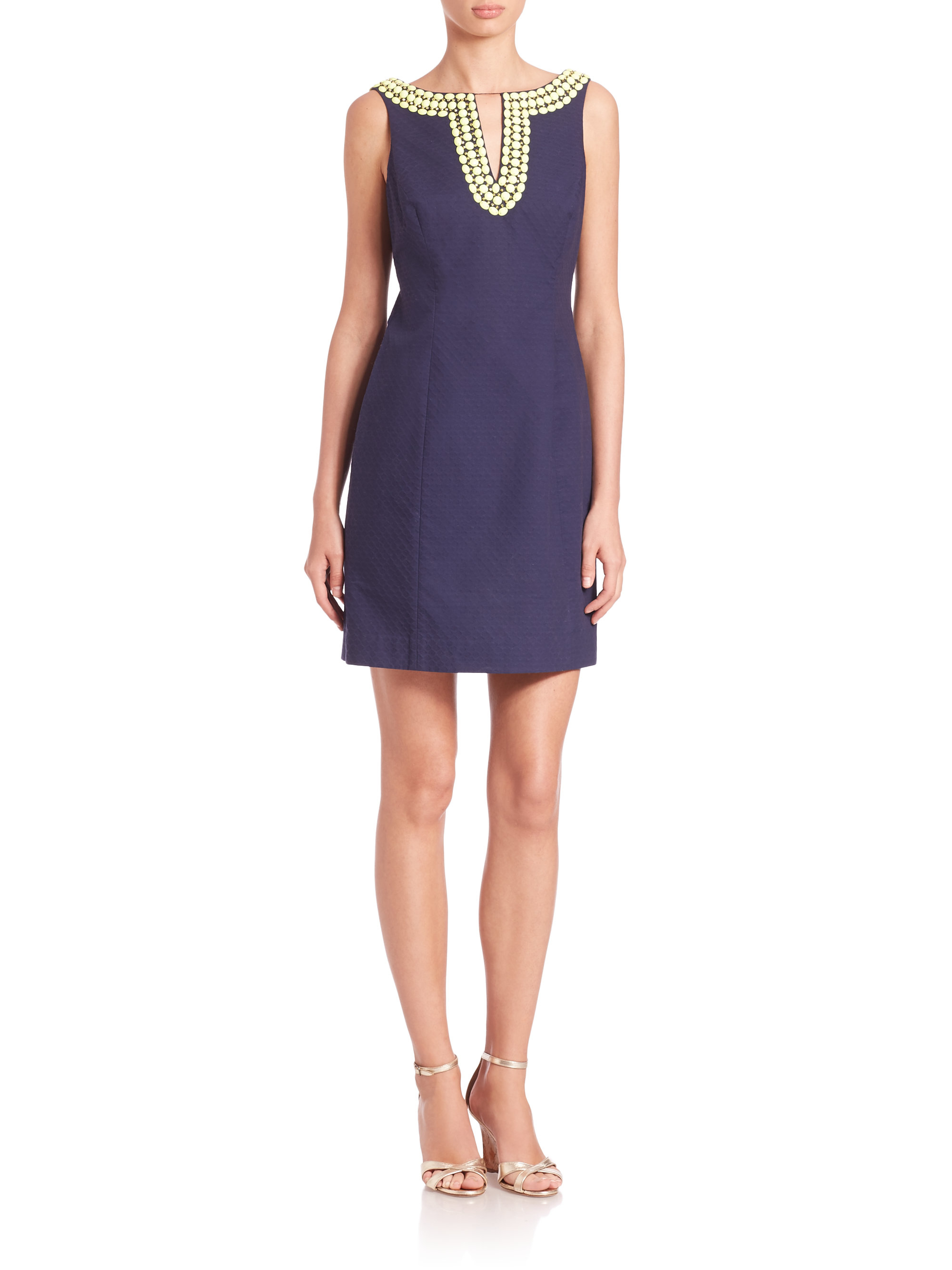 Lyst - Lilly Pulitzer Blaire Embellished Cotton Sheath in Blue