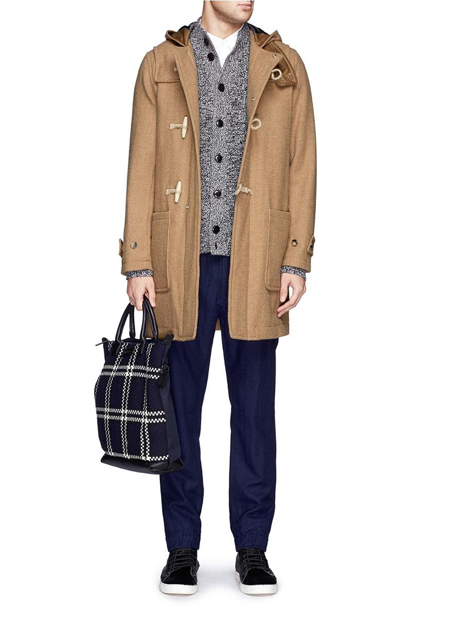 Beams plus Gore Windstopper® Harris Tweed Duffle Coat in Brown for