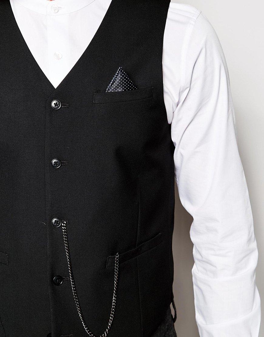 Asos Tuxedo Waistcoat With Watch Chain In Black For Men Lyst