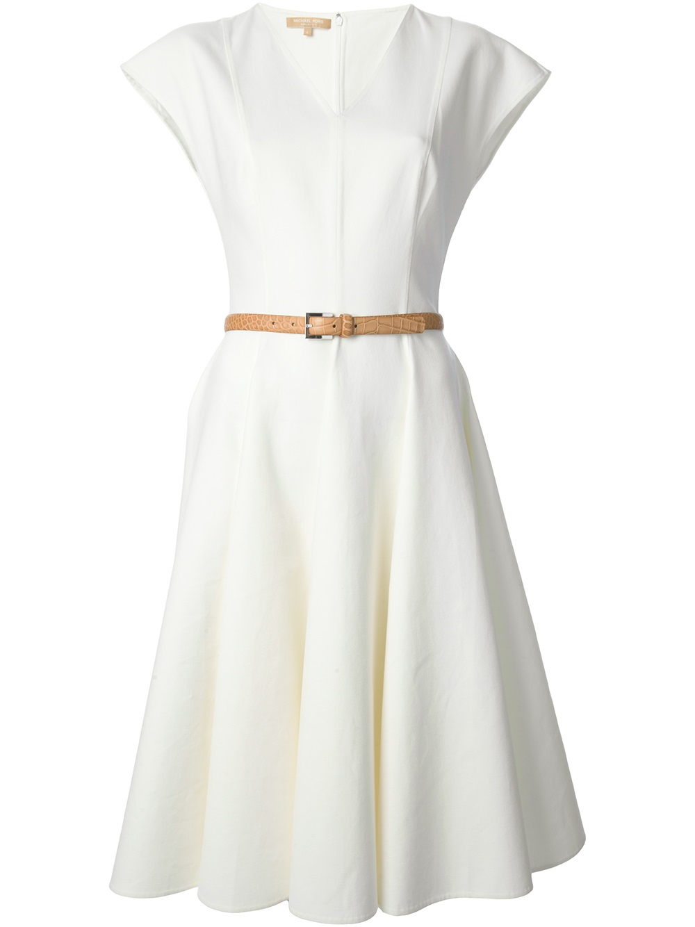 michael kors belted flared dress in white lyst