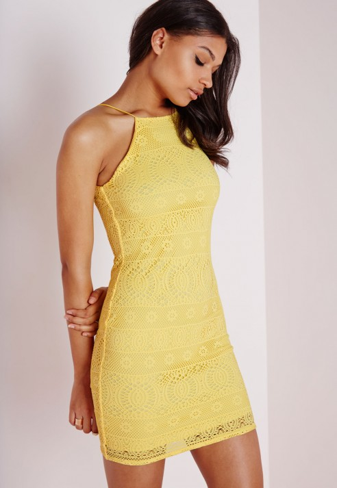 Lyst Missguided Lace Strappy Straight Neck Bodycon Dress
