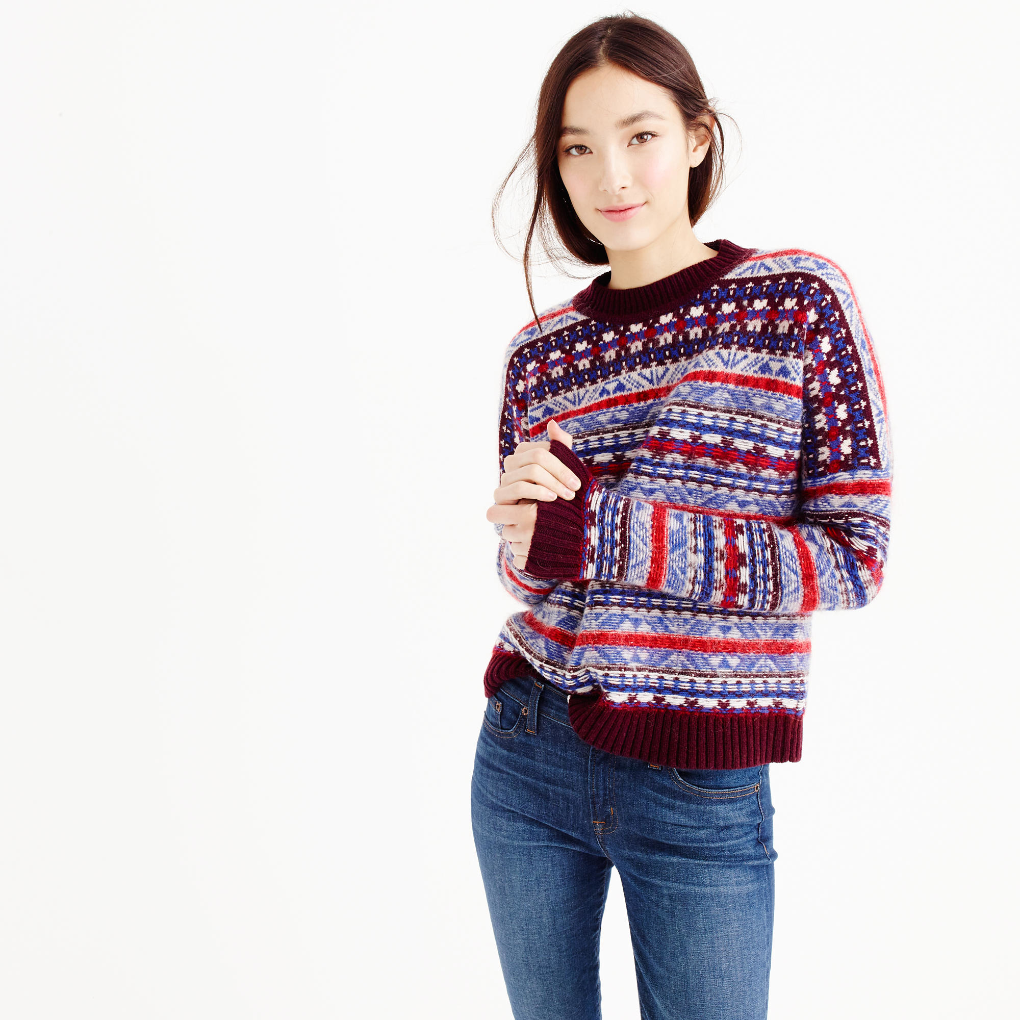 J.crew Fair Isle Crewneck Sweater in Purple | Lyst