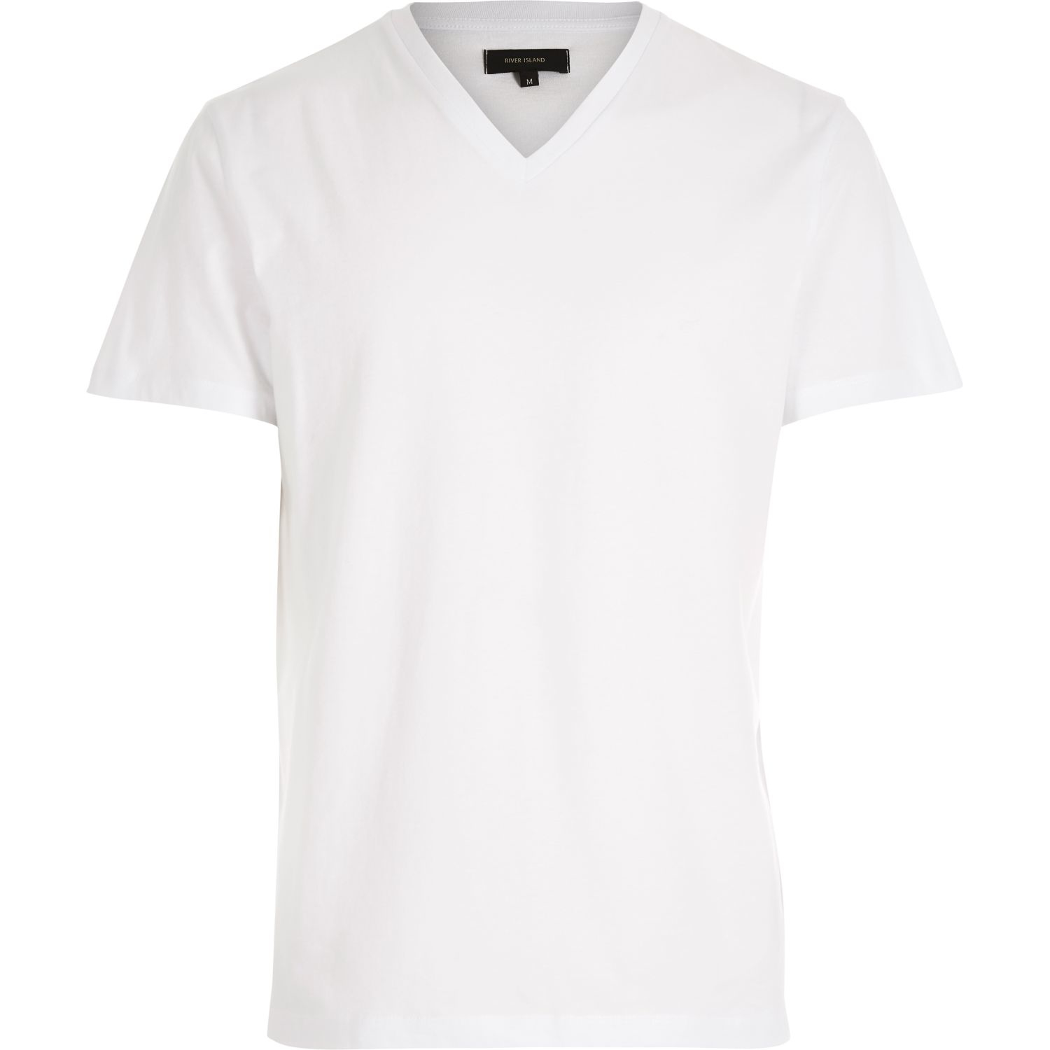 Lyst river island white plain v neck t shirt in white for Plain colored v neck t shirts