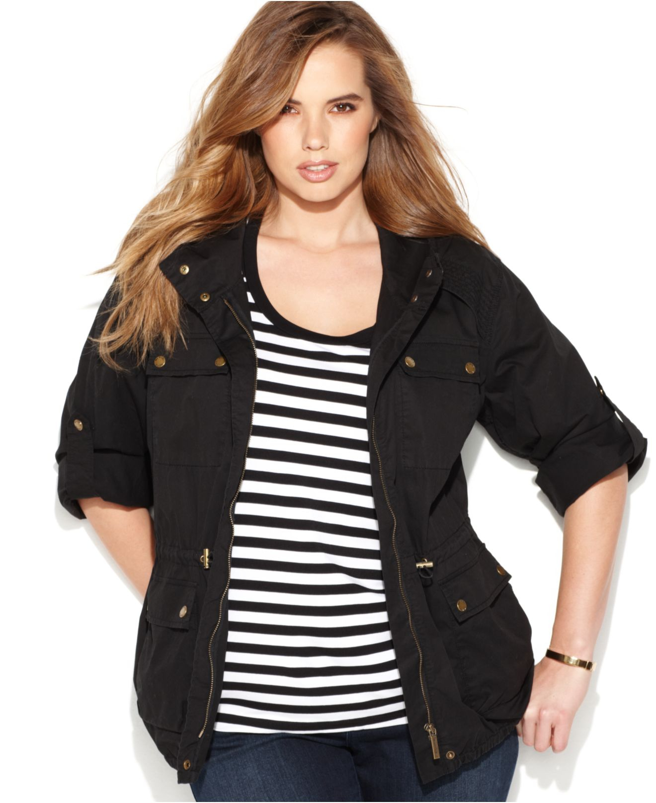 b9221ba6cf4 Gallery. Previously sold at  Macy s · Women s Michael Kors Anorak Women s  Print Leather Jackets ...